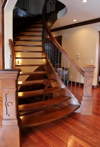 wood stair railings